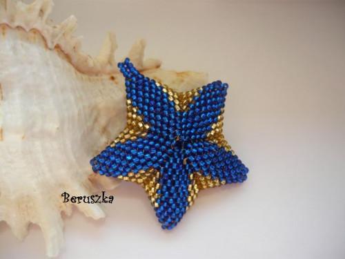 Hvězdička 3D - modro-zlatá