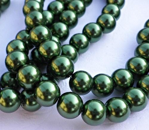 Perličky voskovky tmavě zelené, 10mm - 10ks