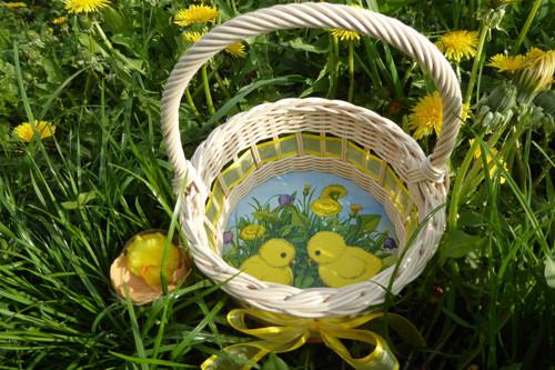 Košíček na 10 vajíček - kuřátko s pampeliškou