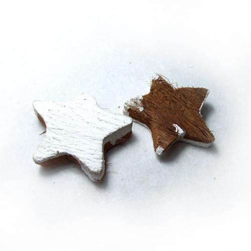 Hvězdička z kokosového dřeva bílo-přírodní 4-5 cm