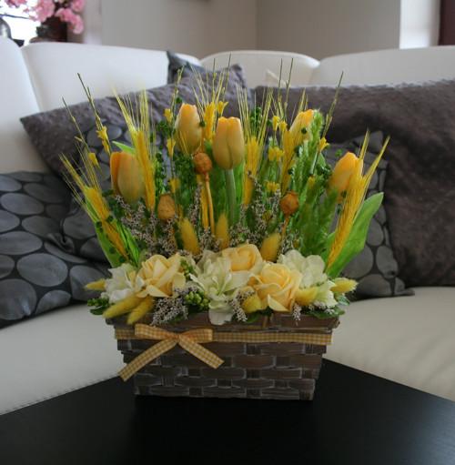 Ošatka s tulipány - žlutozelená