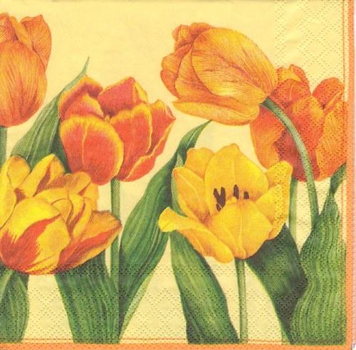 Ubrousek - tulipány na oranžovém pozadí