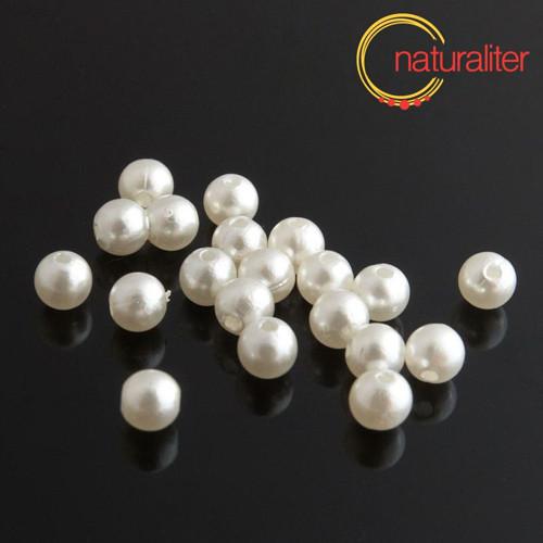 Voskované perly, bílé, 6mm, 50ks