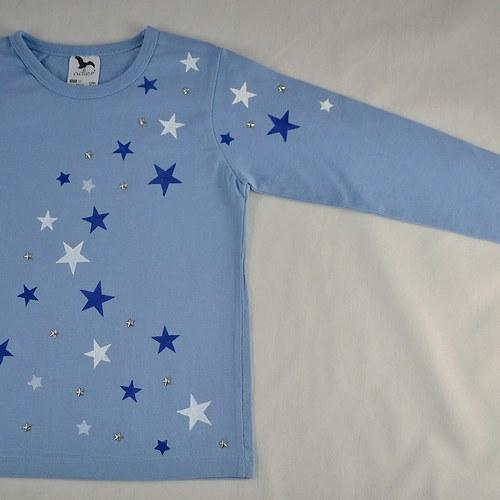 Modré dětské tričko s hvězdičkami (6 let, dl. r.)
