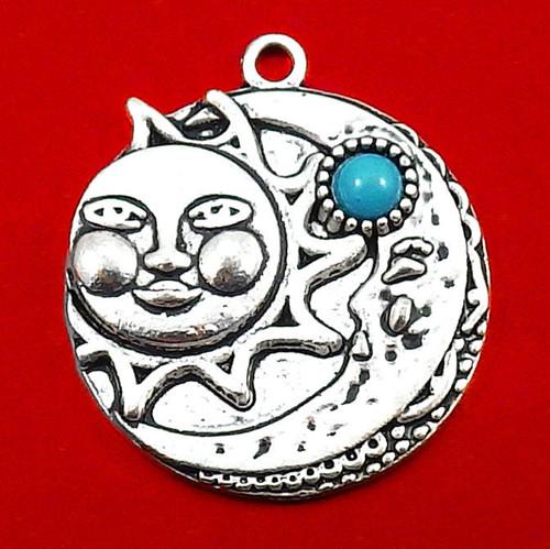 Velký stříbrný přívěsek - slunce a měsíc