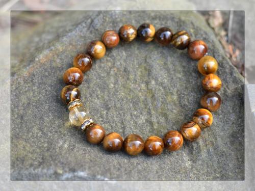 Náramek z kamenů - tygří oko s citrínem