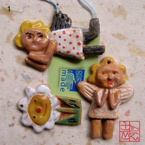 Tři vánoční keramické ozdoby