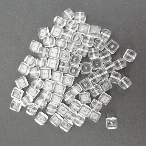 Skleněné KOSTIČKY 12x12mm - transparentní (20ks)