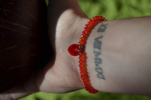 Swarovski přívěsek srdce a červené broušené sklo