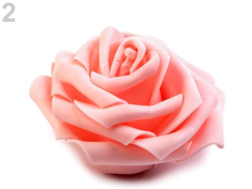 Dekorační pěnová růže Ø10 cm (2ks)- lososvá sv.