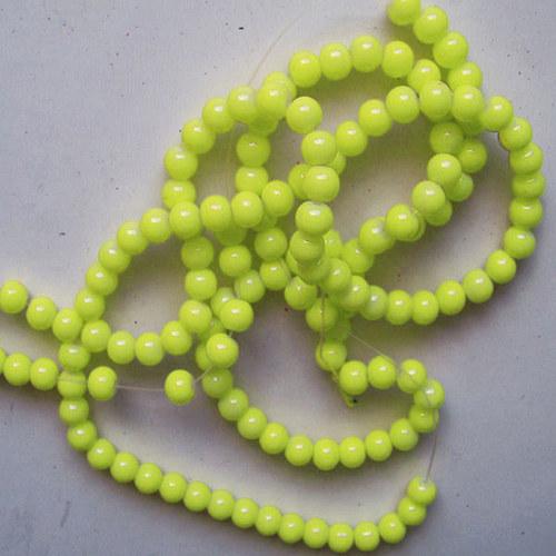 skleněné korálky LESK/ žlutá sv./ 6mm/20ks