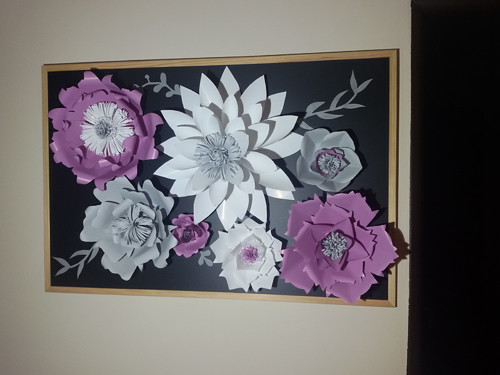 Dekorace - 3D obraz z papírových květin