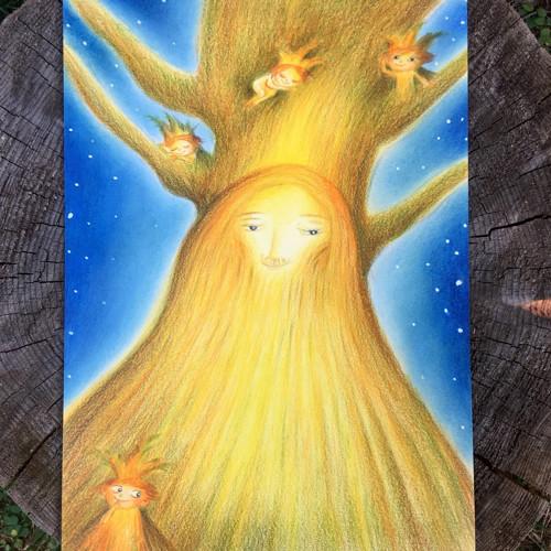 Dobrý duch stromu ochránce a pomocníčci skřítci