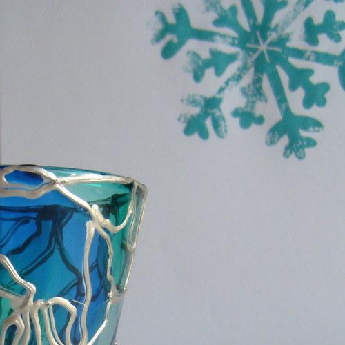 Skleněný SVÍCÍNEK, modro tyrkysový