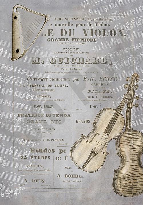 Vintage papír A5 - hudební nástroje