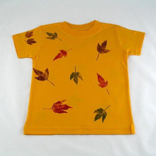 Žluté tričko s listy - dětské (6 let)