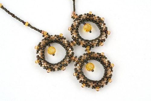 Přívěsek - kroužky hnědo-zlaté