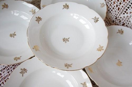 Sleva! Babiččina polévka- talíře s růžičkami
