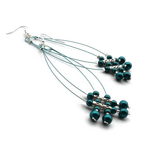 Tm. smaragdové dešťové náhrdelníčky do oušek I.