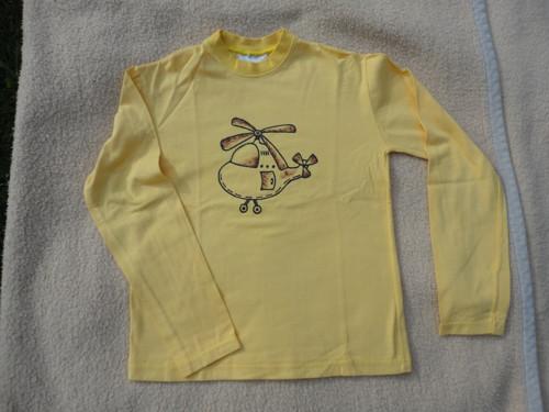 """Dětské žluté tričko \""""vrtulník\"""" vel. 122"""