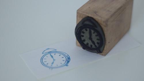 Dětské razítko s obrázkem, tiskátko hodiny