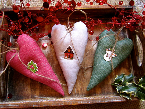 Srdce s vánočním knoflíkem