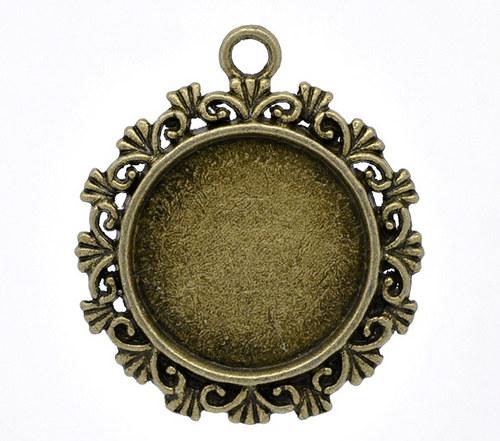 přívěsek  kruh/ ant.bronz/ 34x30mm/ 10ks