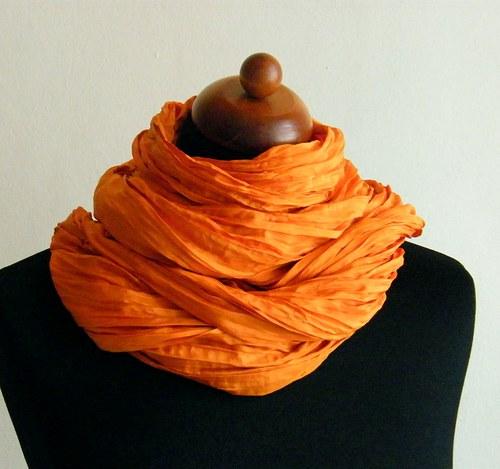 Pomerančová..hedvábná šála 90x200 habotai 8