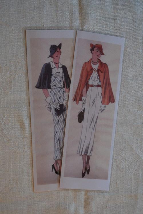 Záložky do knih - Dvě dámy v pelerínkách