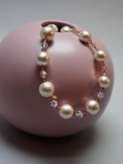 Bavlněné perličky - pastelová starorůžová souprava