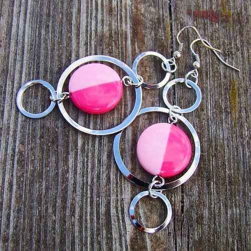náušnice růžovostříbrné