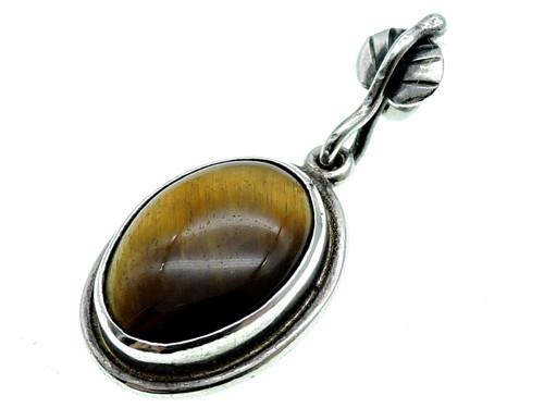 Stříbrný vintage přívěšek- tigří oko