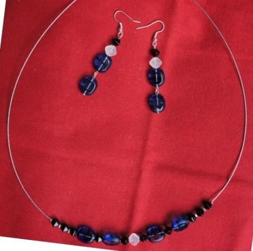 modrý společenský - Náhrdelník s náušnicemi -SLEVA