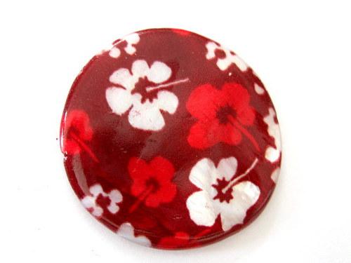 0705004/Perleťová placička velká červená