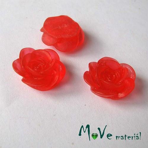Kabošon květ transparent A4- resin - 2ks, červený
