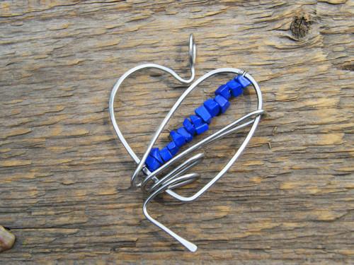 Přívěsek - srdce v královské modré