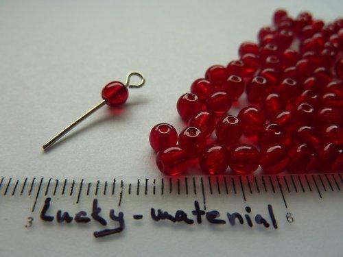 Červené průsvitné kuličky 4 mm .... 100 ks
