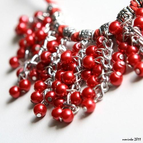 Rudý bohatý náhrdelník a náušnice - VÝPRODEJ