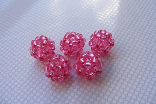 Šité kuličky - růžové průhledné