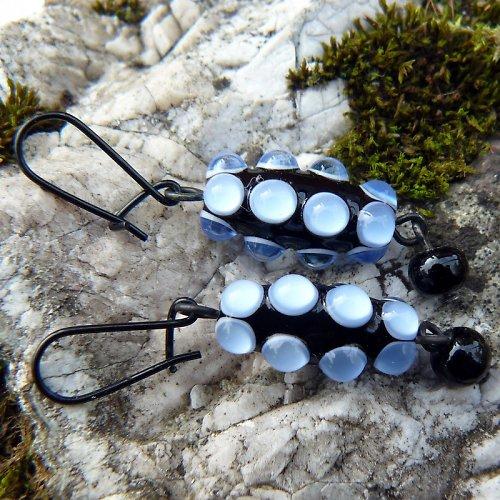 Náušnice okaté olivy - modré (akvamarín)