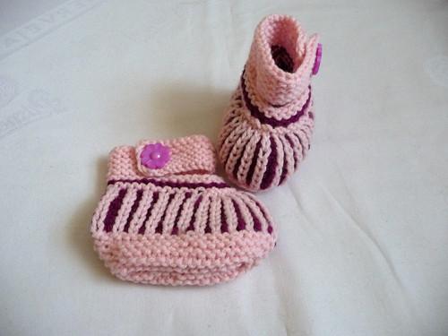 Teplé bačkůrky-růžovo-fialové-4-8měsíců