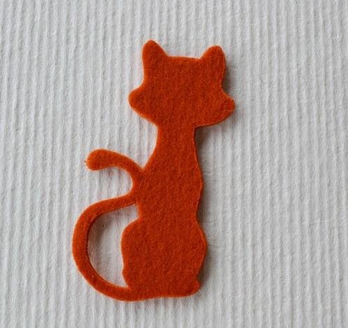 Výsek z plsti - kočka rezavá