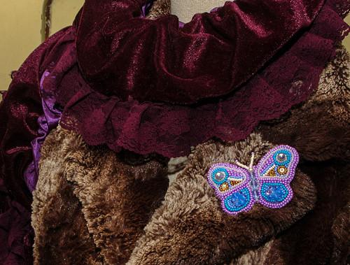 Nádherná korálková motýlí brož