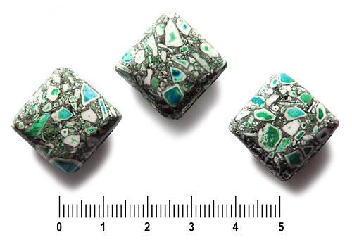 Zeleno-tyrkysové zlomkové kosočtverce, 19 × 19 mm