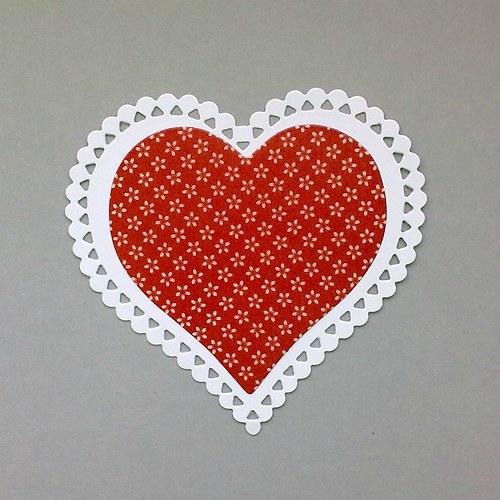 Výsek - Srdce krajkové vrstvené (větší)