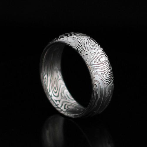 Prsteny snubní z damasteelu - proužky  s kroužky
