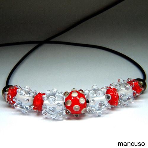 náhrdelník křišťál s červenou
