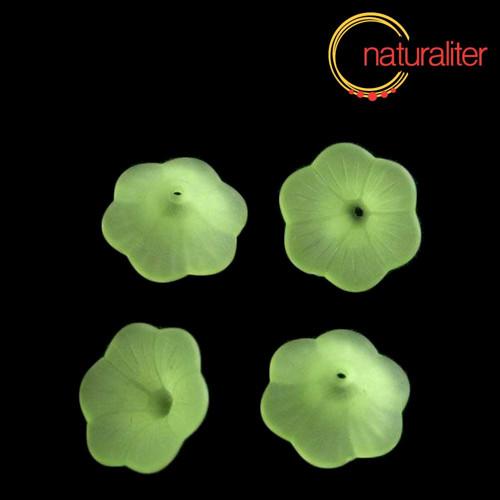 Květina akrylová - petunie 20mm zelená, 4ks