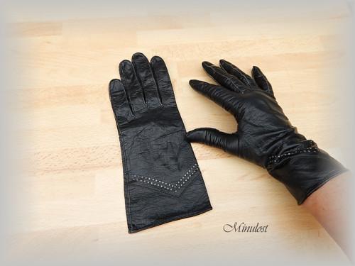 Rukavičky černé kožené  6