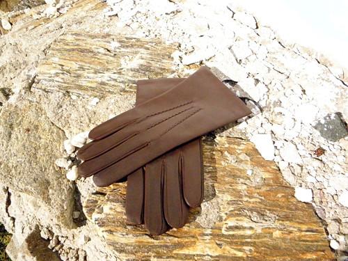 Pánské hnědé kožené rukavice s vlněnou podšívkou